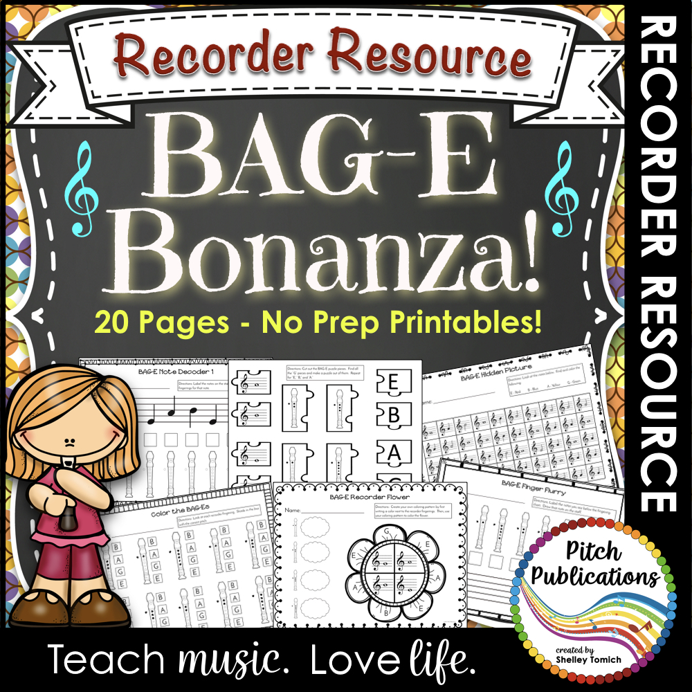 Recorder Bonanza: Worksheets to Practice BAGE