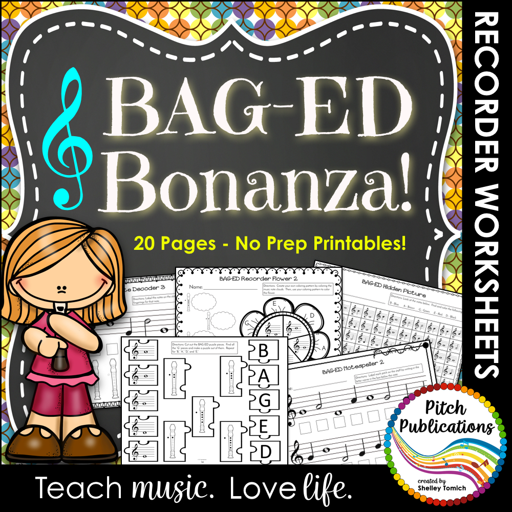 Recorder Bonanza: Worksheets to Practice BAGED
