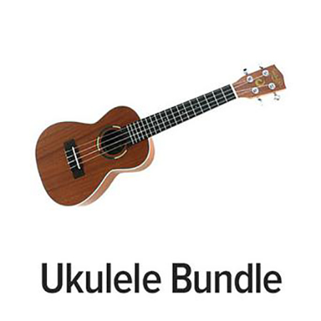 Ukulele Bundle: Tiki Concert Ukuleles with Tuner & Ukulele for All