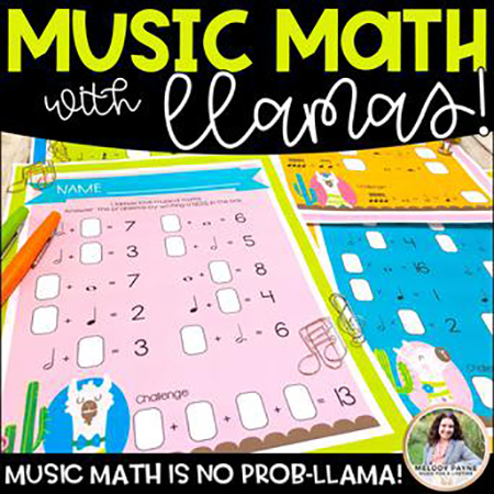 Music Math with Llamas Mega-Set classroom sheet music cover