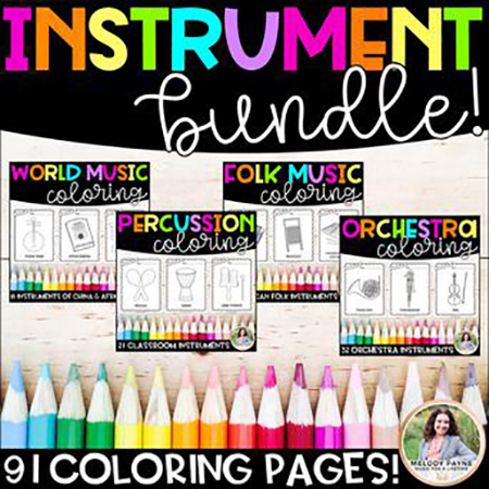 Music Instrument Coloring Sheets Bundle