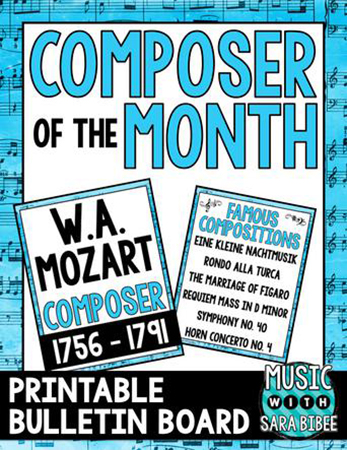 W.A. Mozart - Composer of the Month classroom sheet music cover