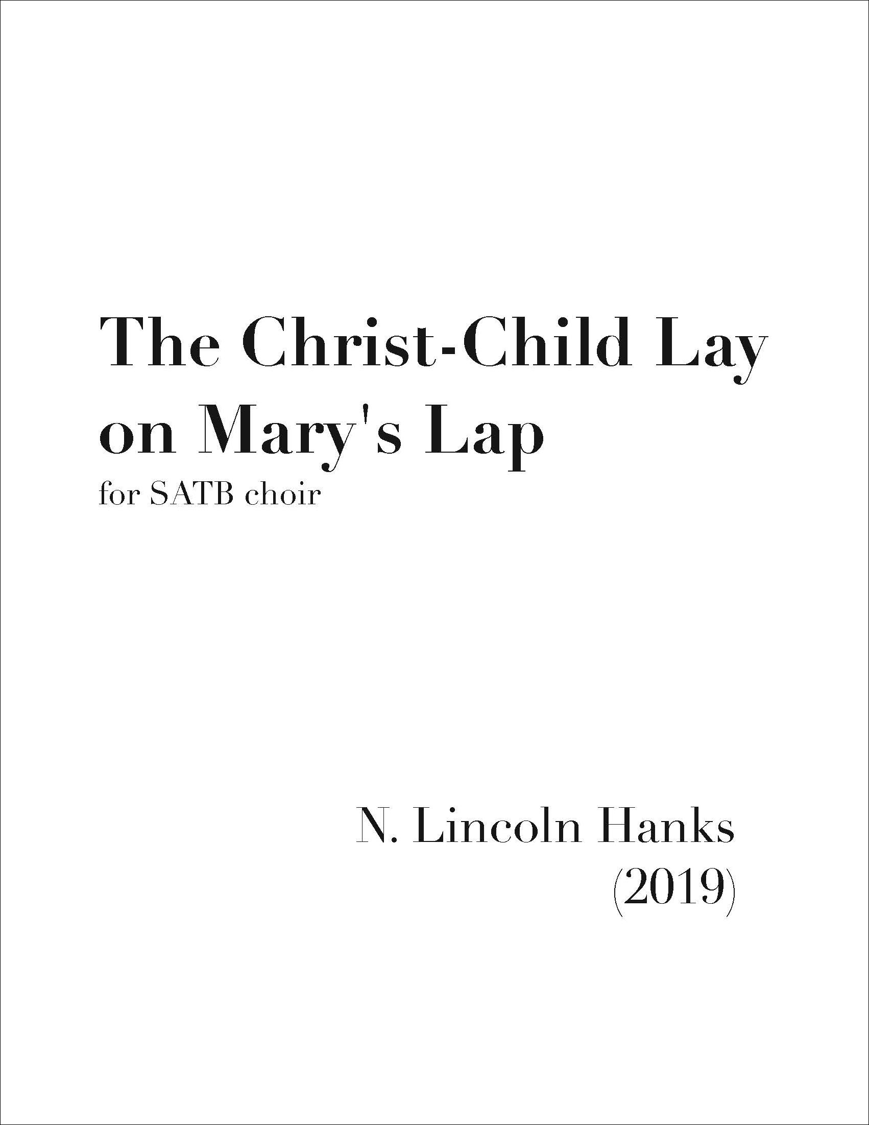 The Christ-Child Lay on Mary's Lap