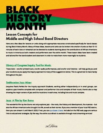 Black History Month Lesson Concepts for Band Directors