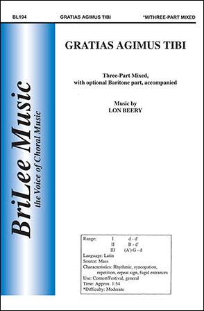 Gratias Agimus Tibi Three Part Mixed By L J W Pepper Sheet Music