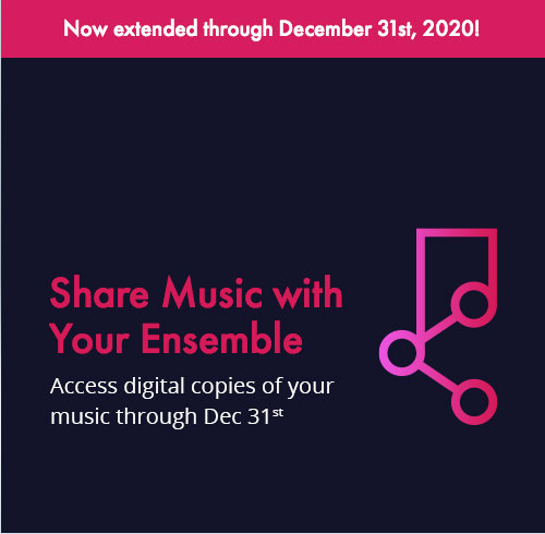 Share digital copies of your sheet music with your ensemble through December 31.