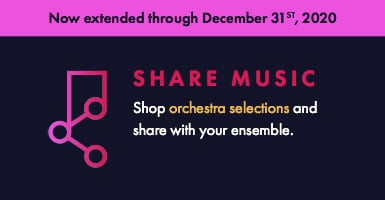Shop orchestral music and share digital copies with your ensemble through December 31