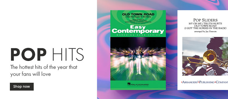 Shop the hottest pop hit marching band arrangements of the year.