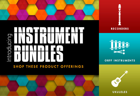 Shop elementary school musical instrument bundles. Recorders, orff instruments, and ukuleles.