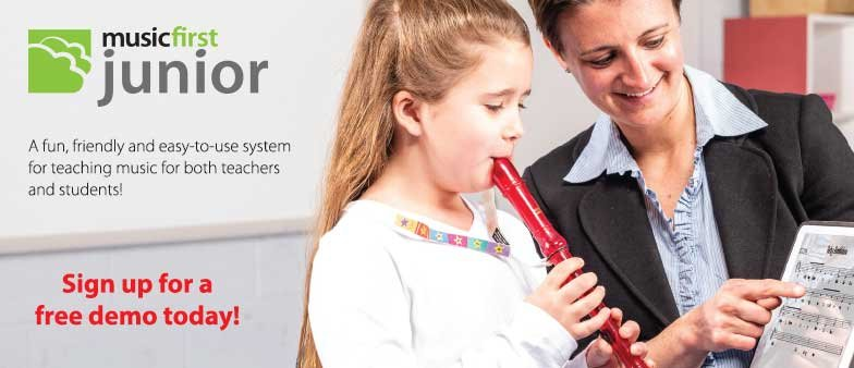 Sign up for a free demo of Music First Junior. A fun and easy-to-use system for teaching music!