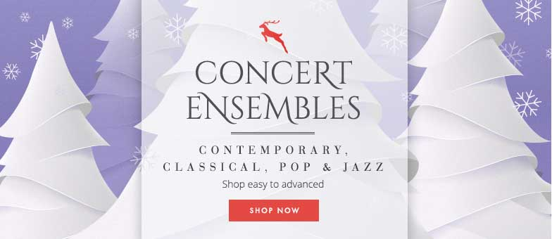 Shop percussion concert ensembles. Easy to advanced. Contemporary, classical, pop, and jazz.