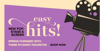 New easy piano sheet music from pop, stage, and screen hits! Spring forward with these student favorites.