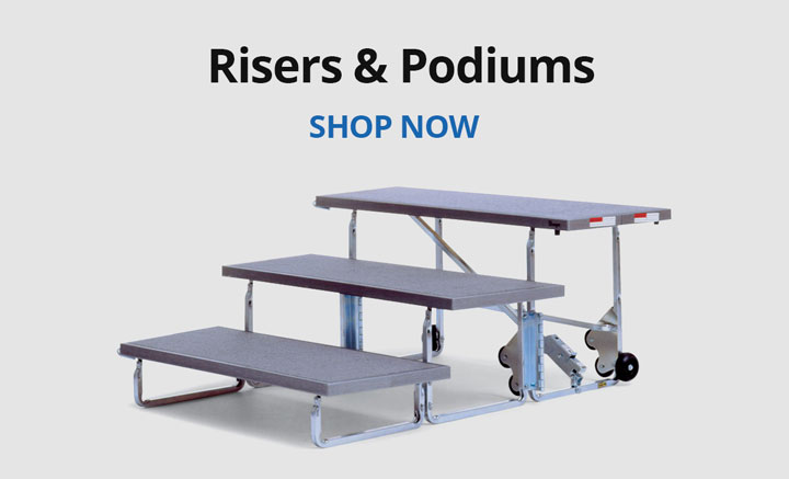 Shop risers and podiums.
