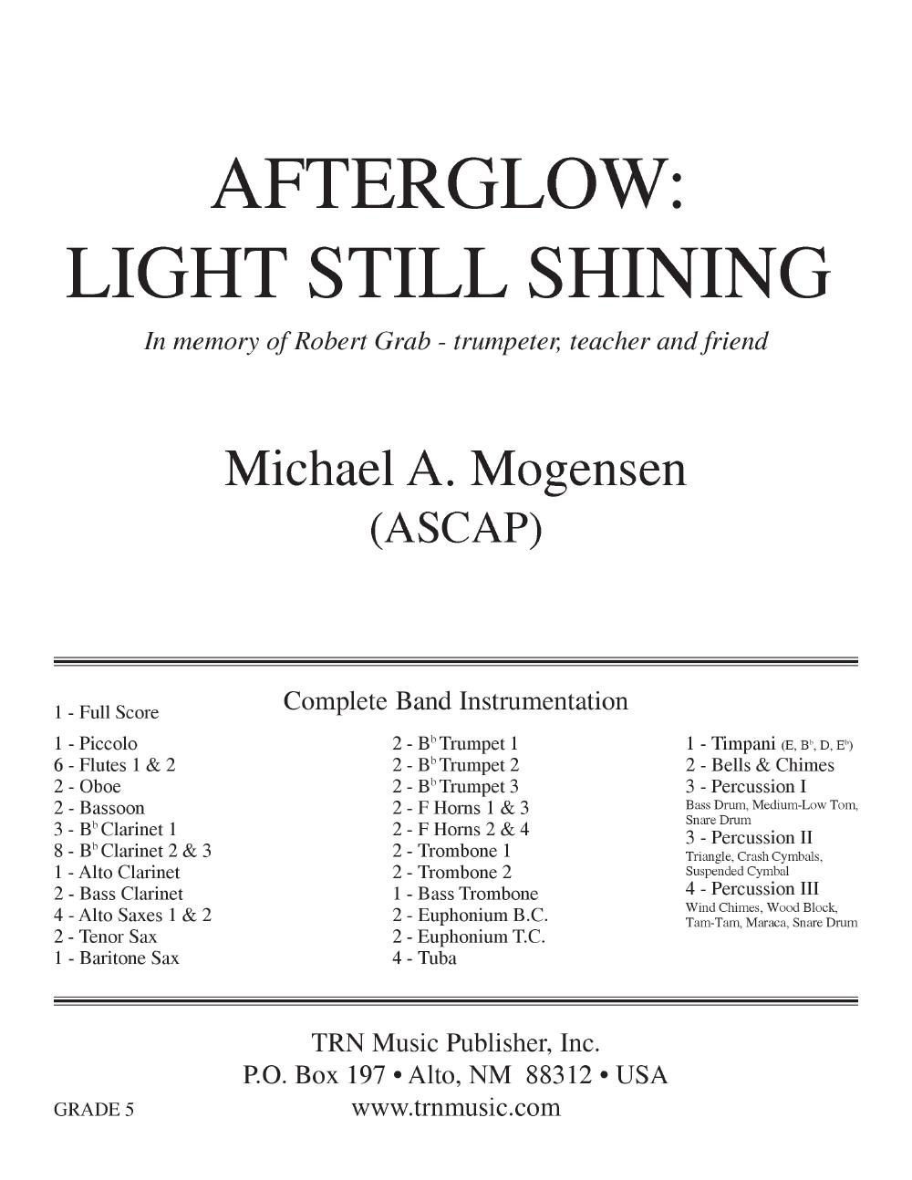 Afterglow Light Still Shining by MOGENSEN, M| J W  Pepper