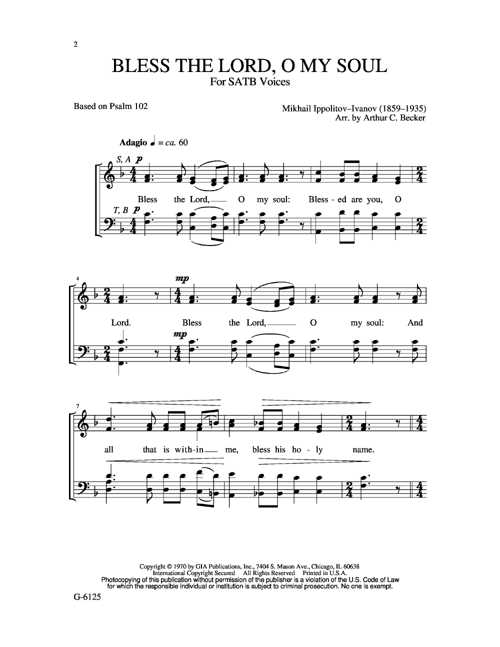 Bless the Lord O My Soul (SATB ) by IVANOV, | J W  Pepper