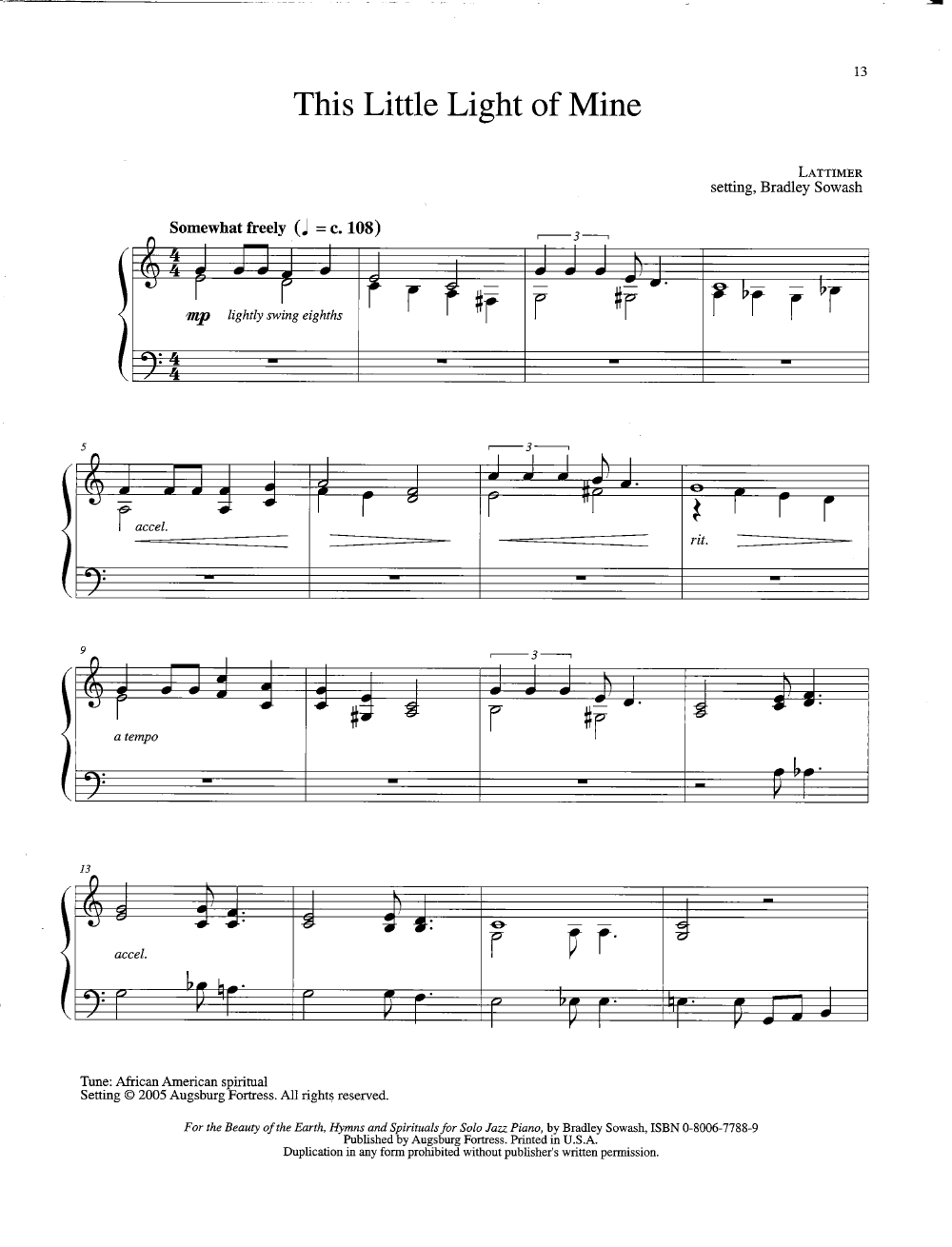 For the Beauty of the Earth (Piano) arr  Bradley | J W  Pepper Sheet
