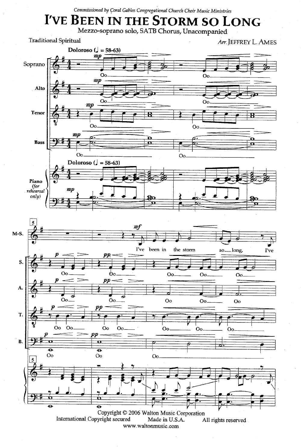 I've Been in the Storm So Long (SATB ) arr  | J W  Pepper Sheet Music