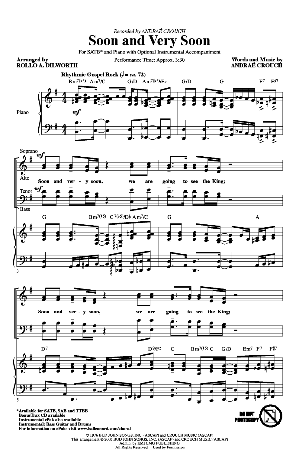 Soon and Very Soon (SATB ) by Andrae Crouch/ | J W  Pepper Sheet