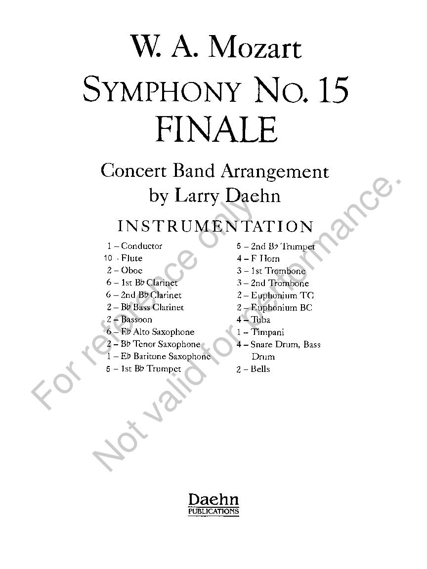Symphony No  15, Finale by W A  Mozart /arr  Da   J W