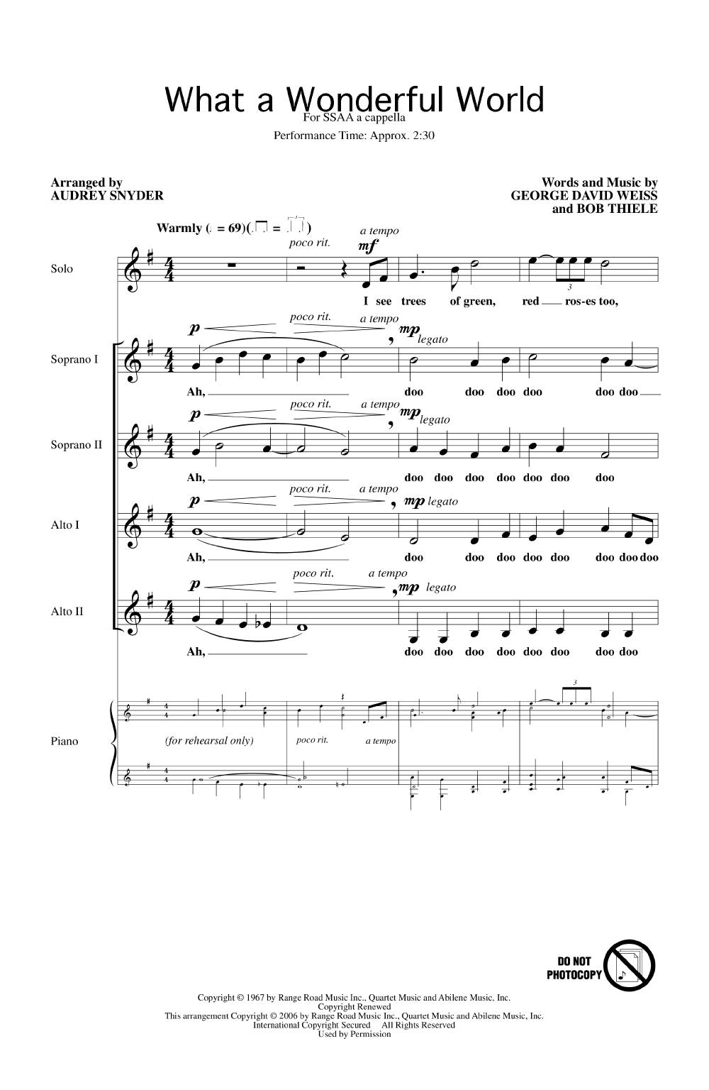 What a Wonderful World (SSAA ) arr  Audrey | J W  Pepper Sheet Music