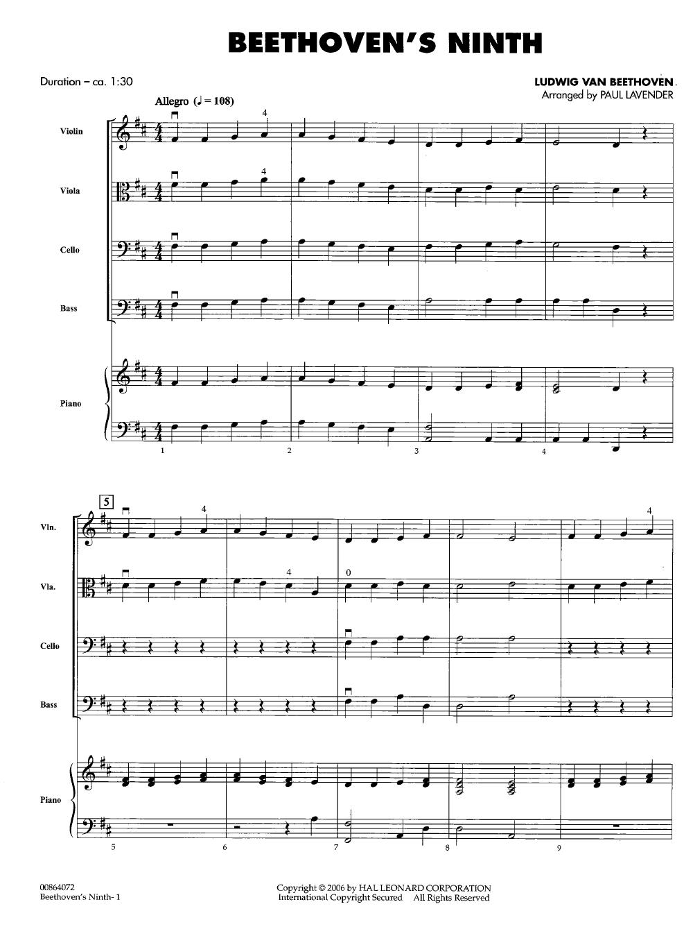 Beethoven's Ninth by Ludwig van Beethoven/arr  Pa | J W