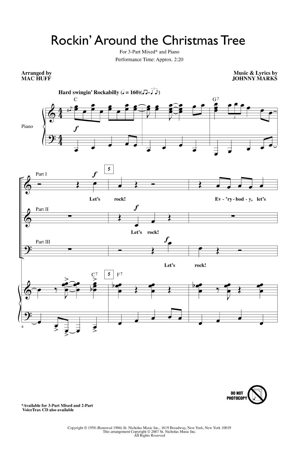 Rockin Around The Christmas Tree Piano Sheet Music.Rockin Around The Christmas Tree Three Part Mi J W