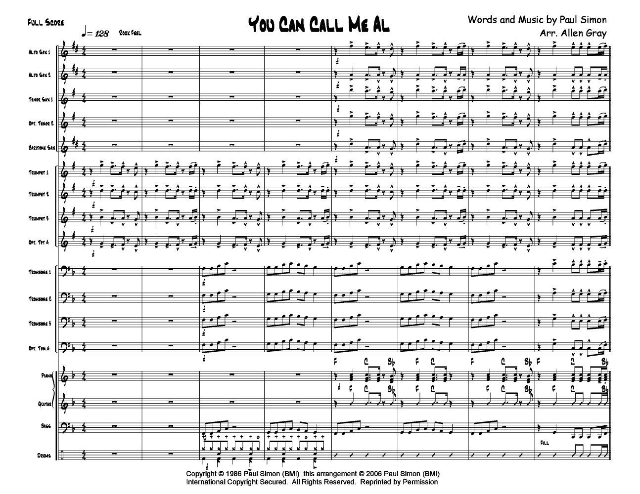 You Can Call Me Al by Paul Simon/Arr  Allen Gray| J W