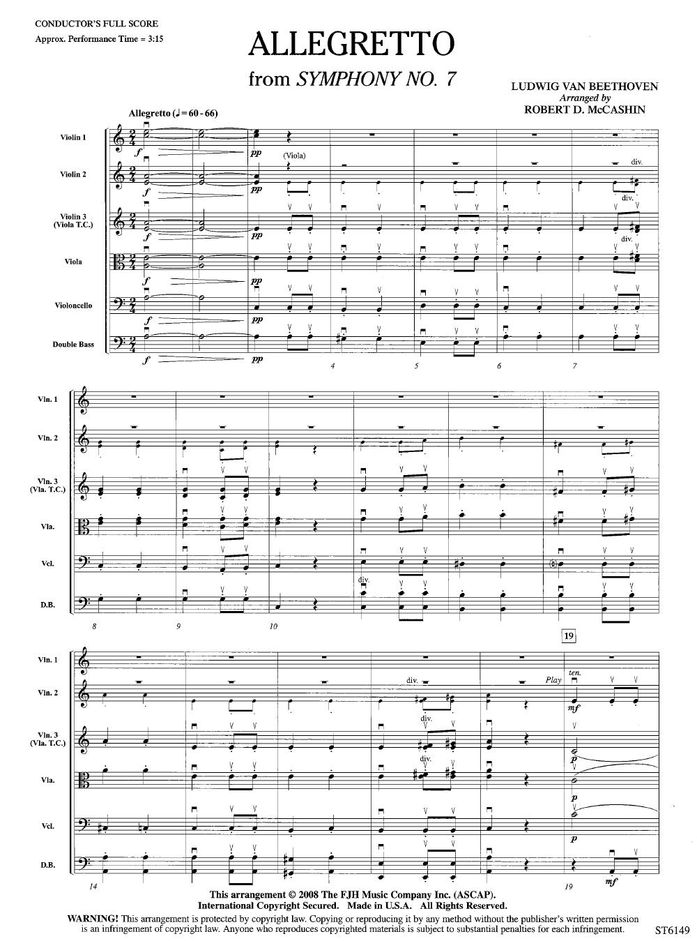 Allegretto by Ludwig van Beethoven/arr  Robert D  | J W  Pepper Sheet