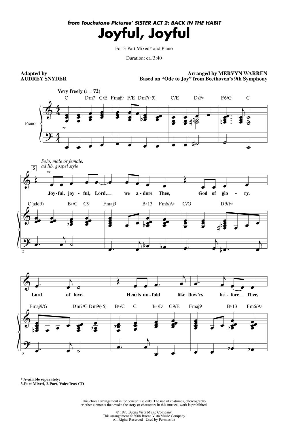 Joyful, Joyful (Three-Part Mixed ) by Beeth | J W  Pepper