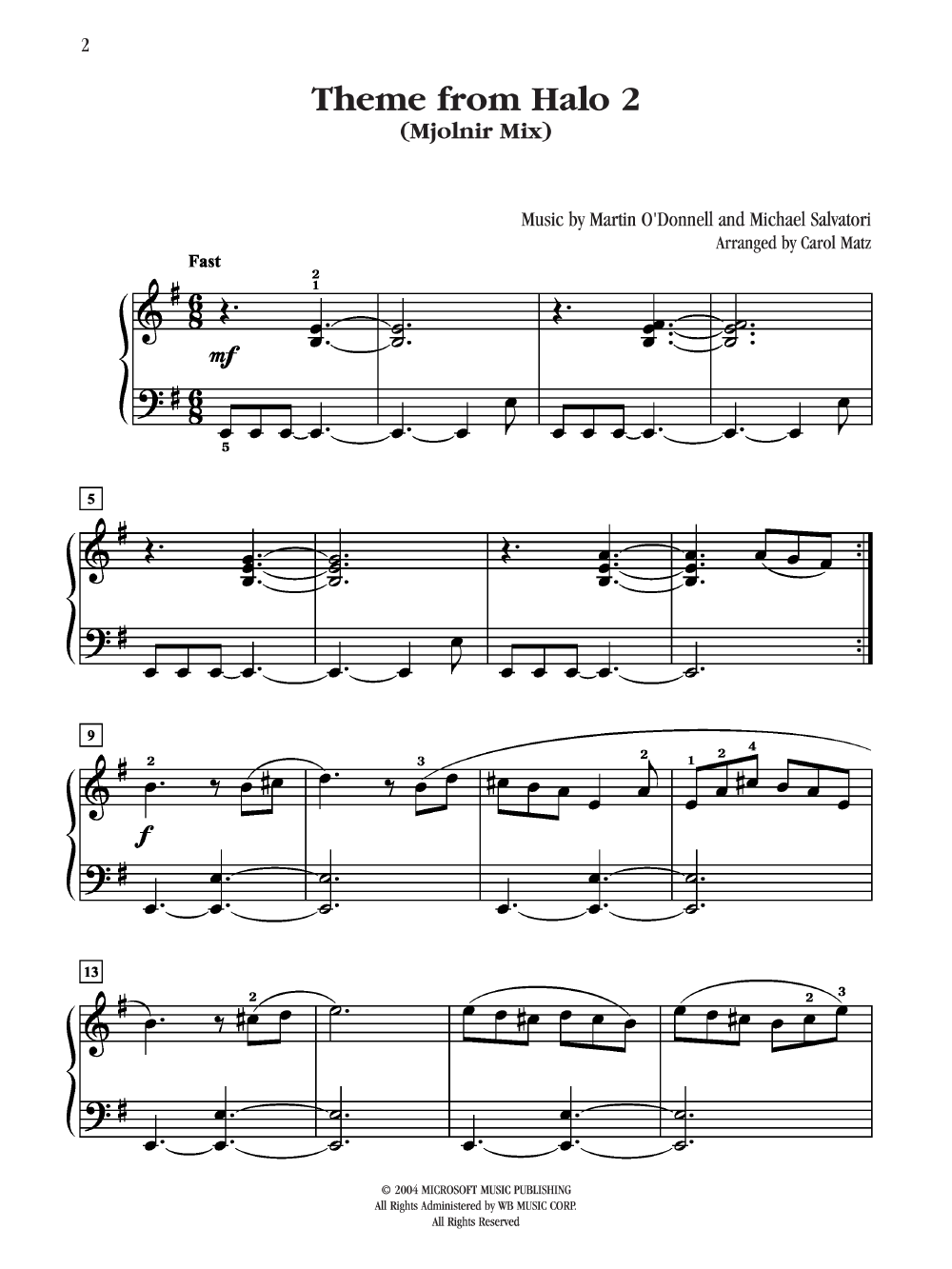 Halo No  2 Theme by MATZ, C| J W  Pepper Sheet Music