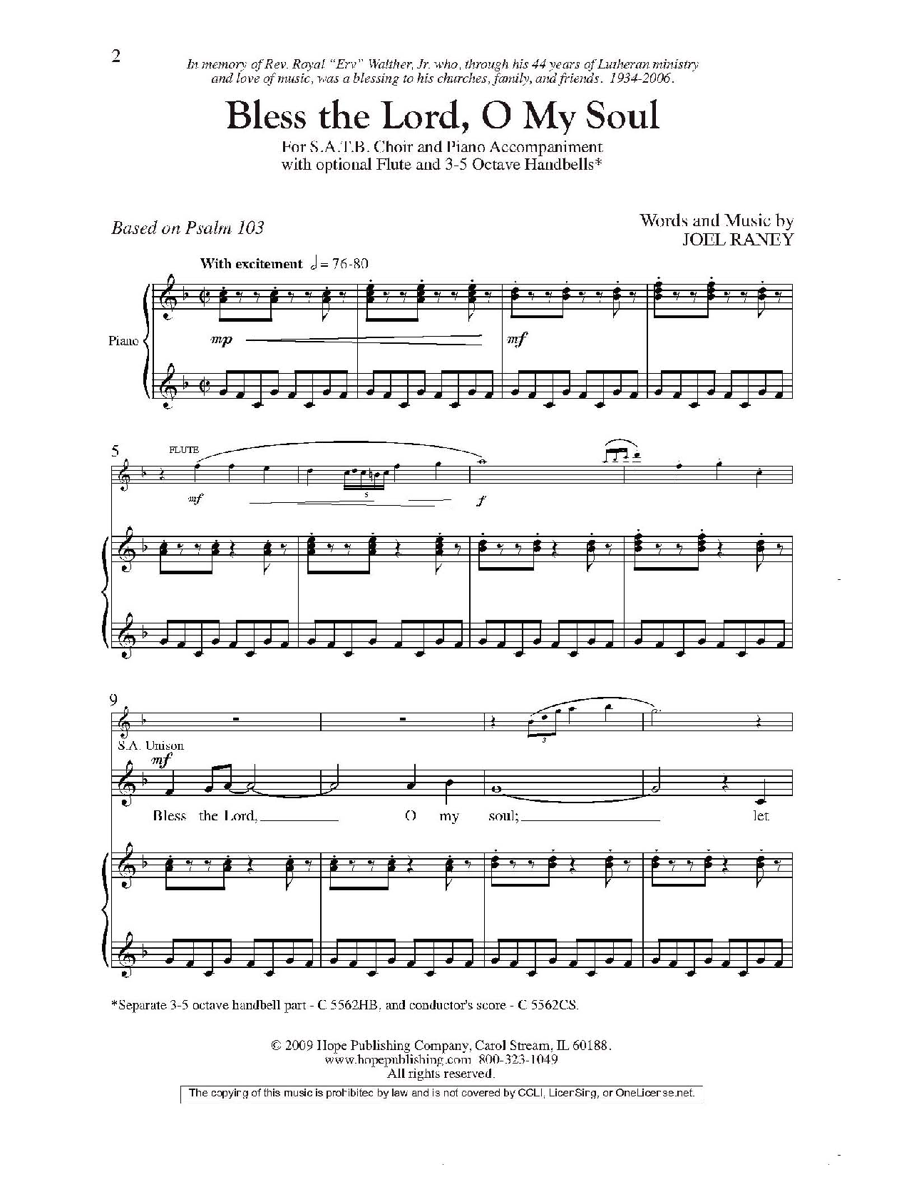 Bless the Lord, O My Soul (SATB With opt  3 | J W  Pepper