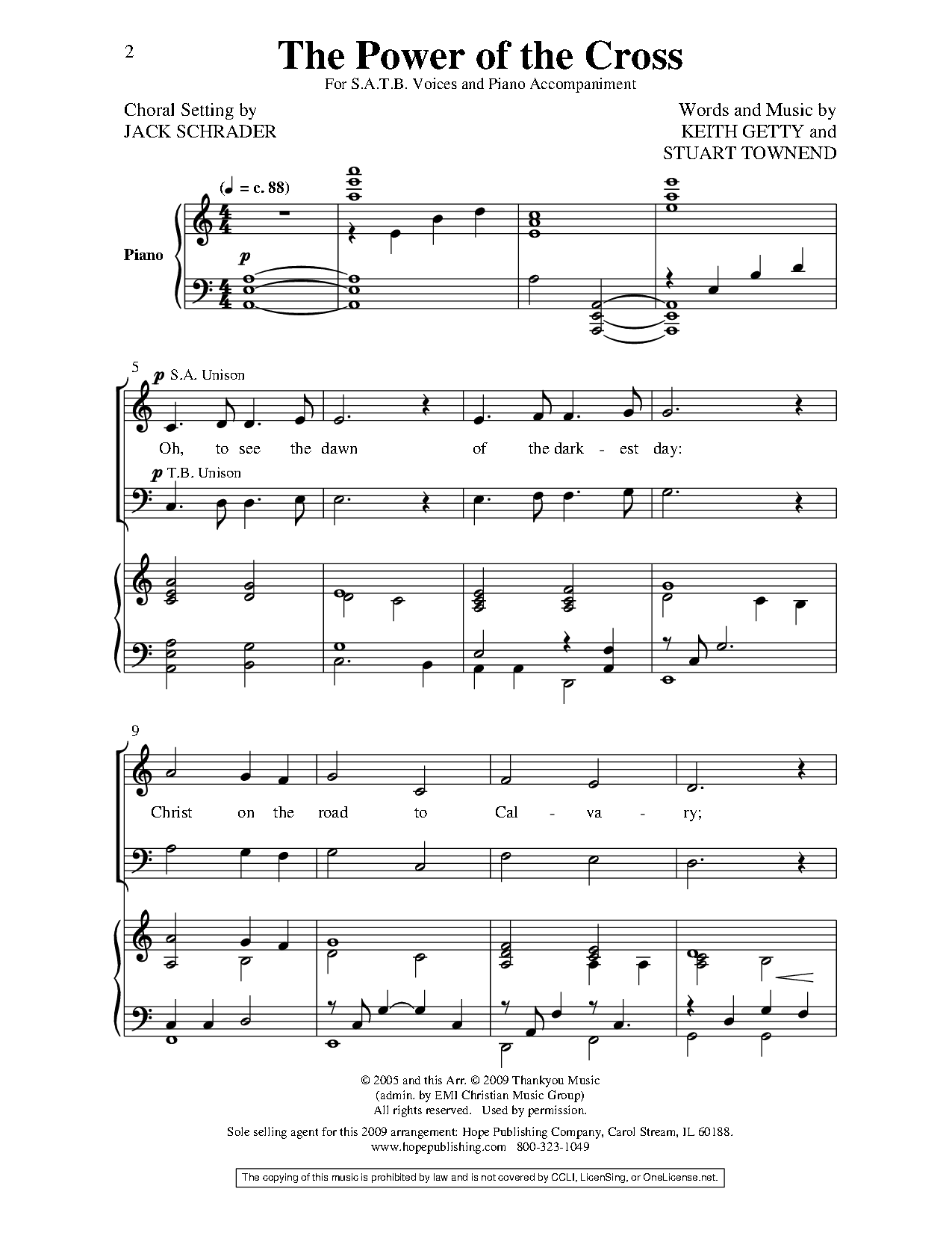 Power Of The Cross Satb By Keith Getty Jw Pepper