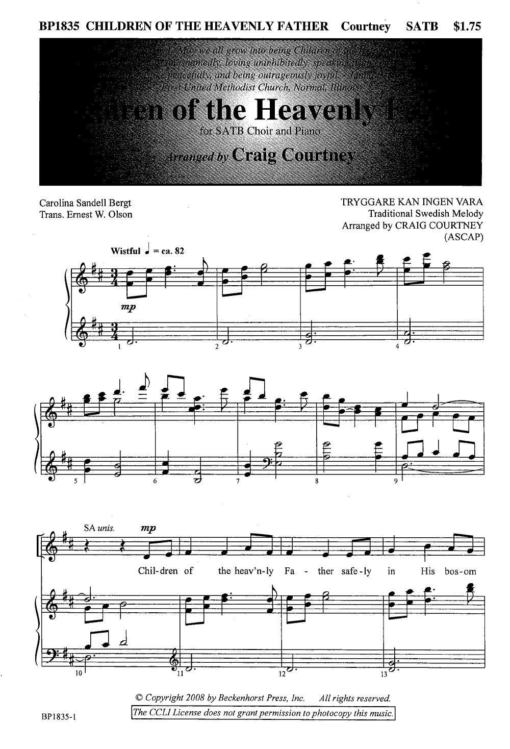 Children Of The Heavenly Father Satb Arr Jw Pepper