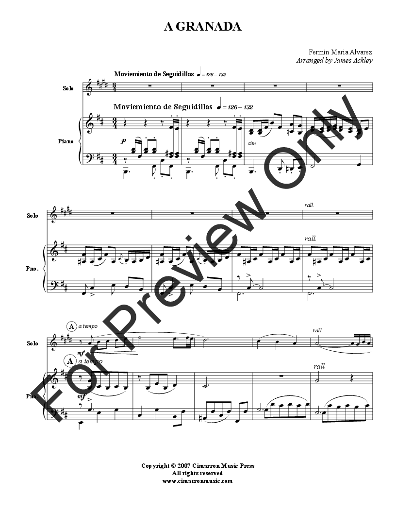 A Granada (Trumpet Solo with Piano ) b | J W  Pepper Sheet