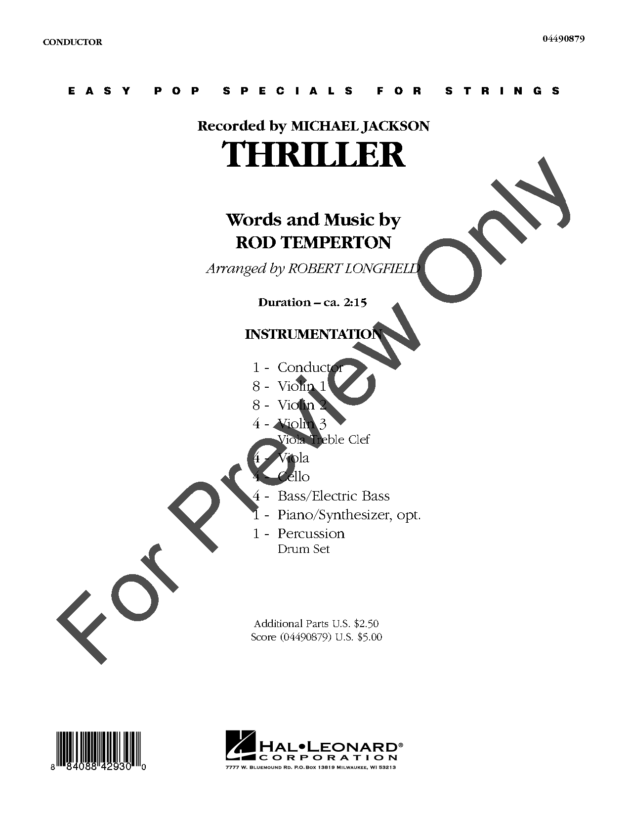 Thriller by Rod Temperton/arr  Longfield| J W  Pepper Sheet