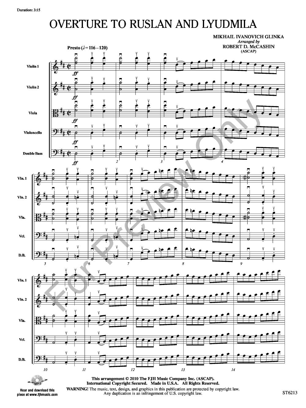 Ruslan and Lyudmila.  1. Overture