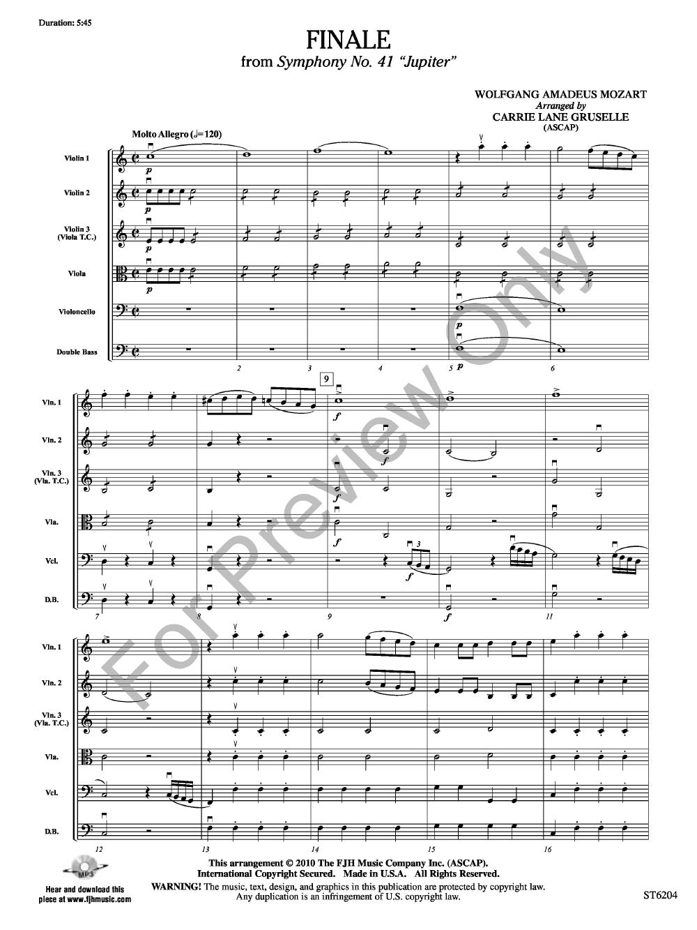 Finale from Symphony No  41 by W  A  Mozart/arr  | J W