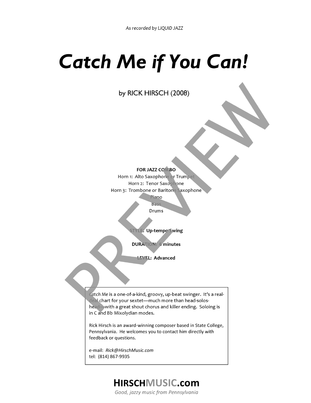 Catch Me If You Can! by Rick Hirsch| J W  Pepper Sheet Music