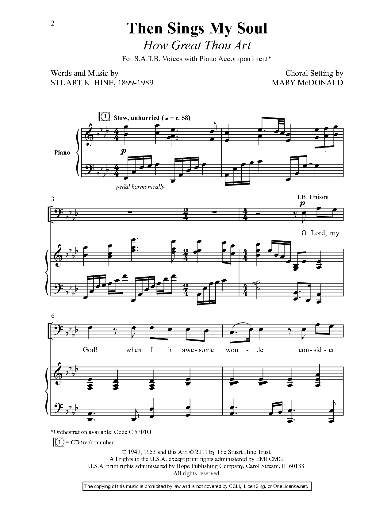 Then Sings My Soul (SATB ) by Stuart K  Hin | J W  Pepper