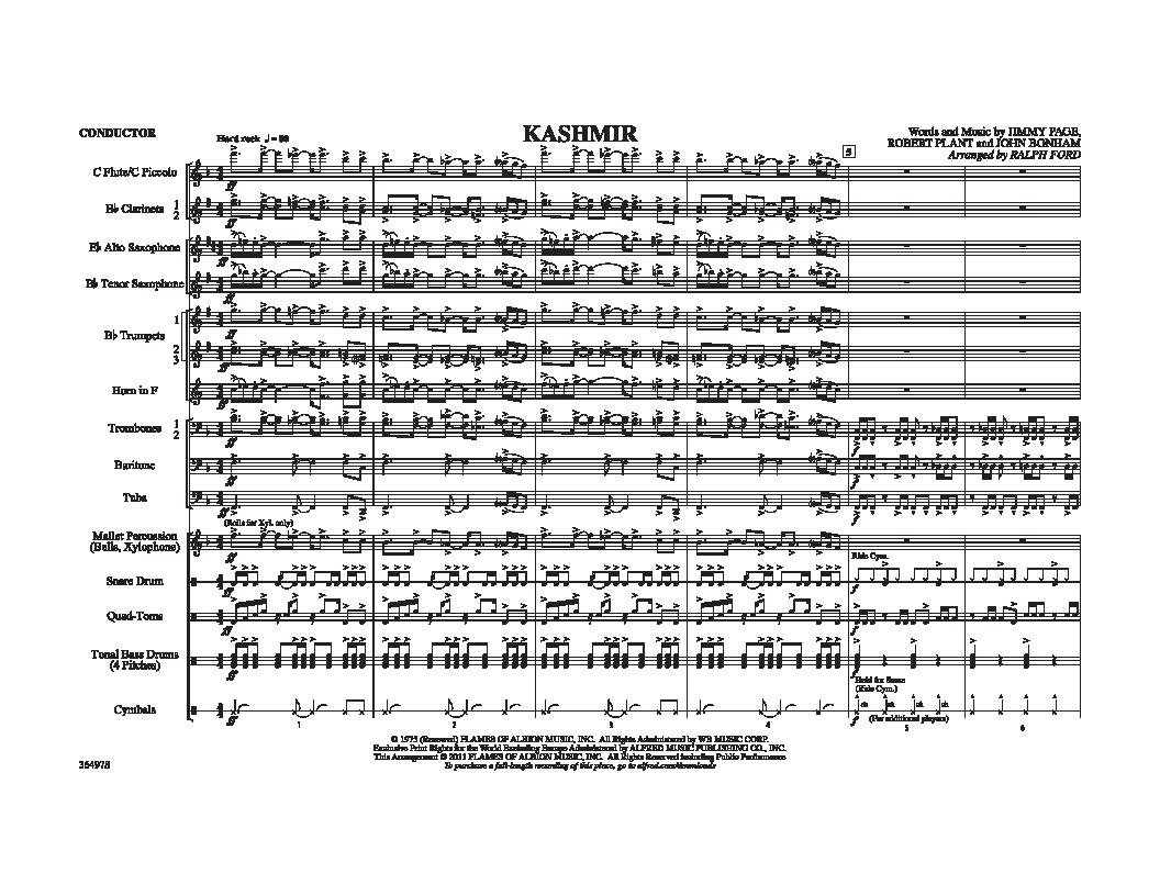 Kashmir arr  Ralph Ford| J W  Pepper Sheet Music