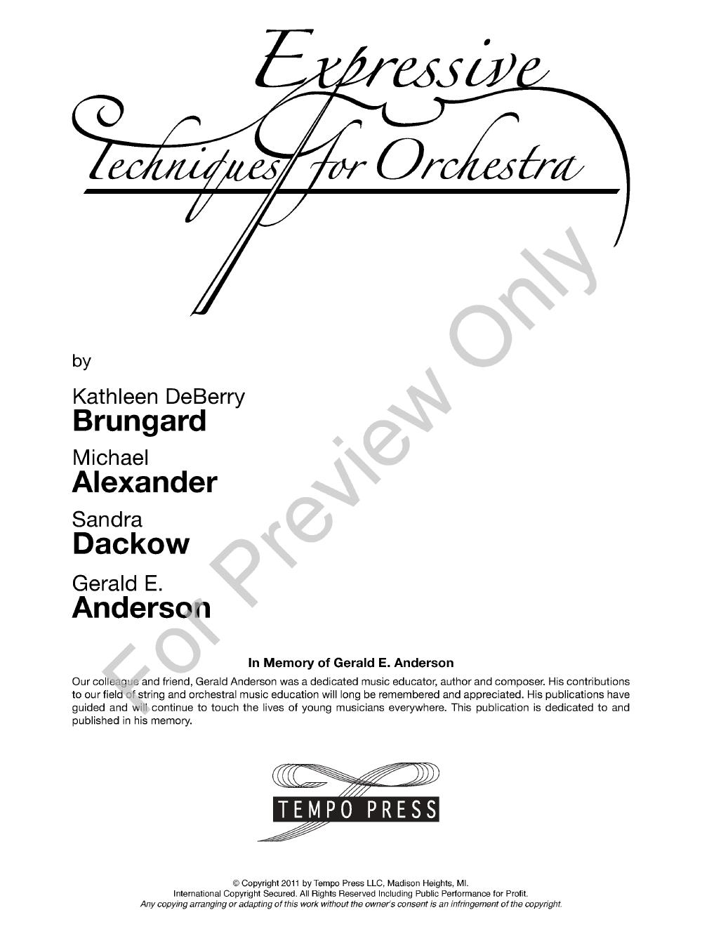 Expressive Techniques for Orchestra (Violin | J W  Pepper