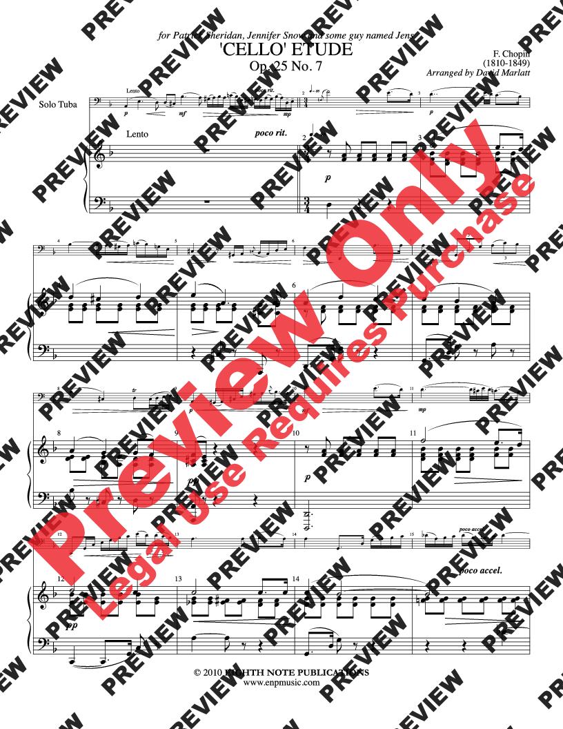 Cello Etude, Op  25 No  7 (Tuba Solo with P | J W  Pepper