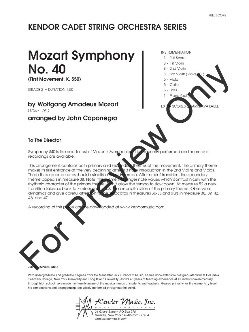 Mozart Symphony No  40 by W A  Mozart/arr  John C | J W  Pepper