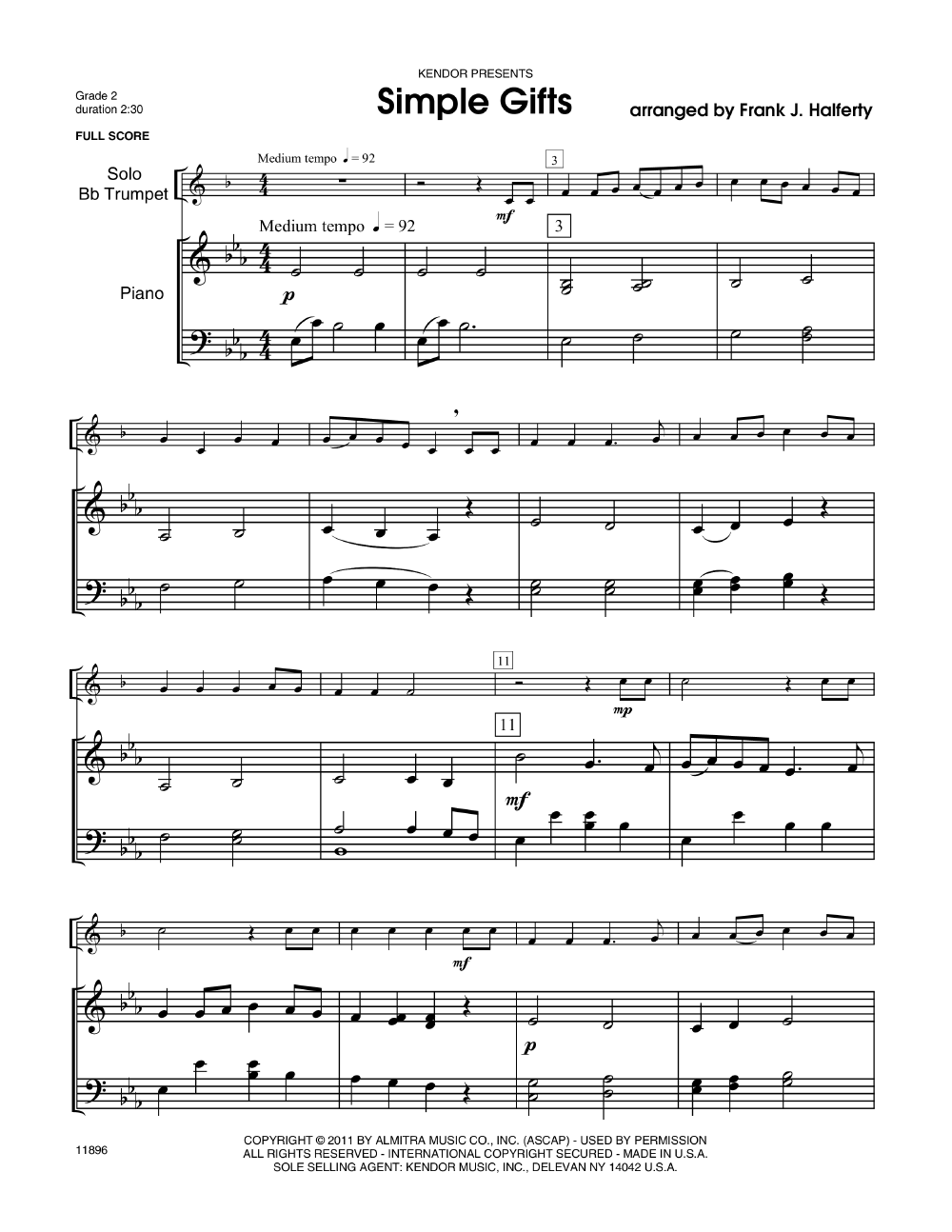 Simple Gifts (Trumpet Solo with Piano | J W  Pepper Sheet Music