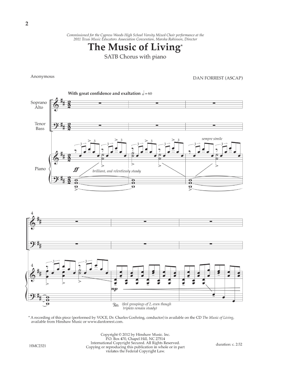The Music of Living (SATB ) by Dan Forrest| J W  Pepper Sheet Music