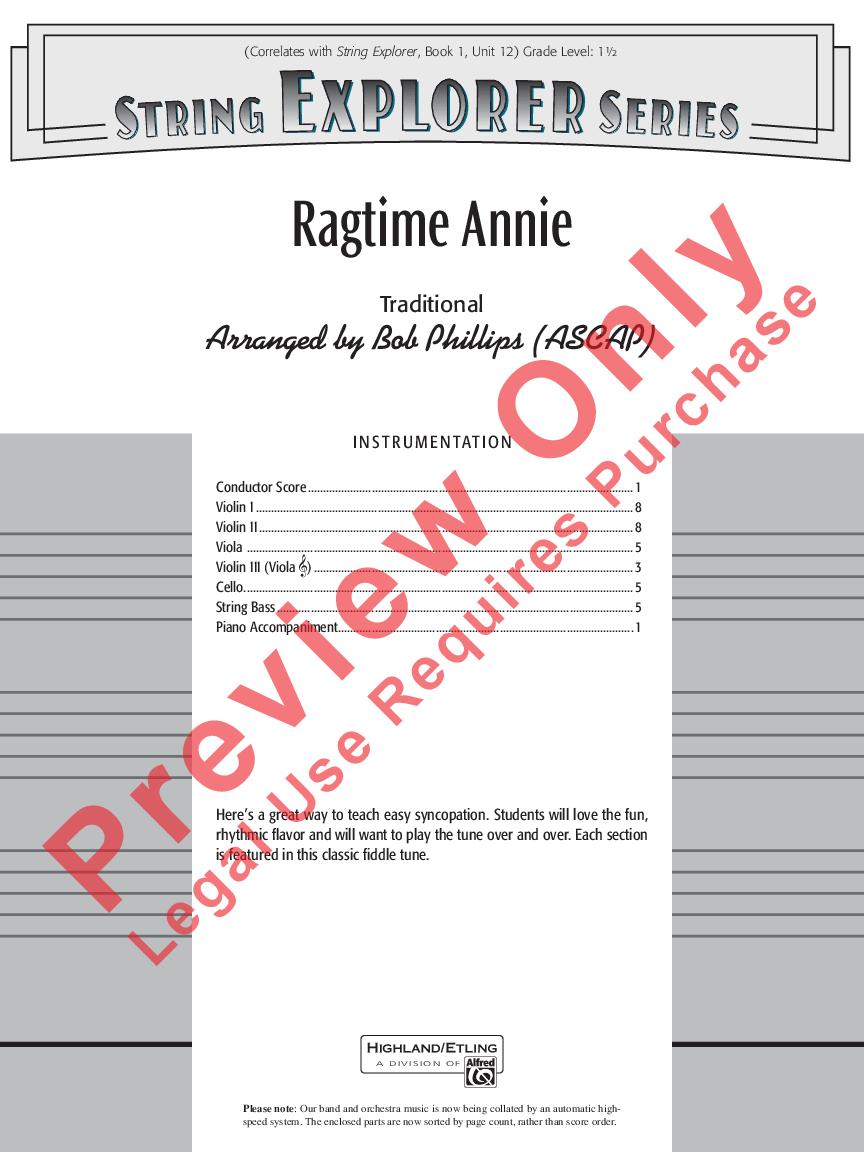 Ragtime Annie by Bob Phillips| J W  Pepper Sheet Music