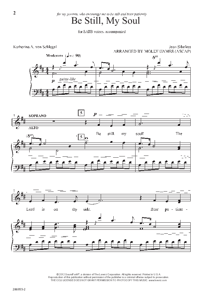 Be Still My Soul Satb By Jean Sibeliusa Jw Pepper Sheet Music