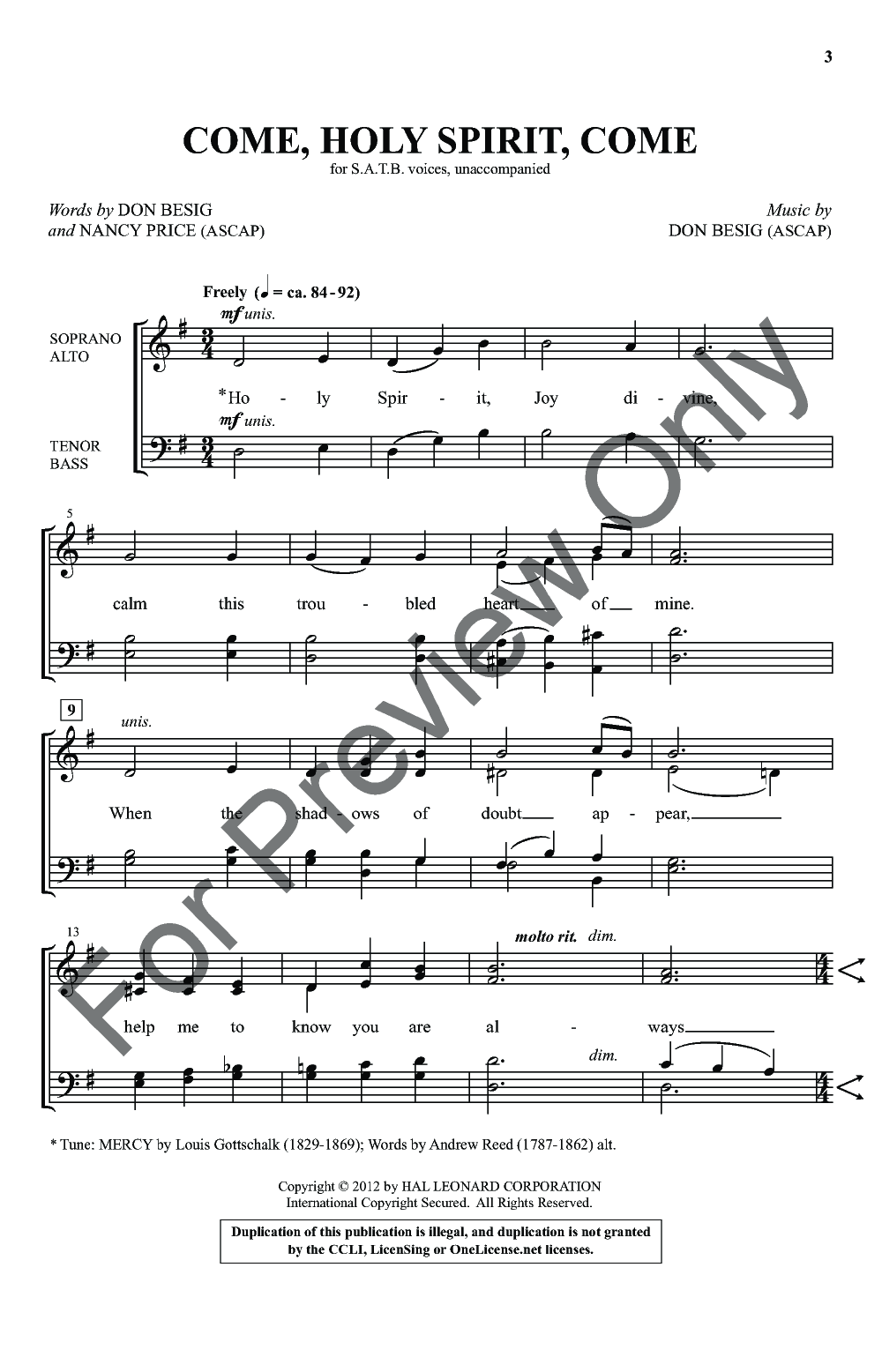 Come, Holy Spirit, Come (SATB ) by Don Besig| J W  Pepper Sheet Music