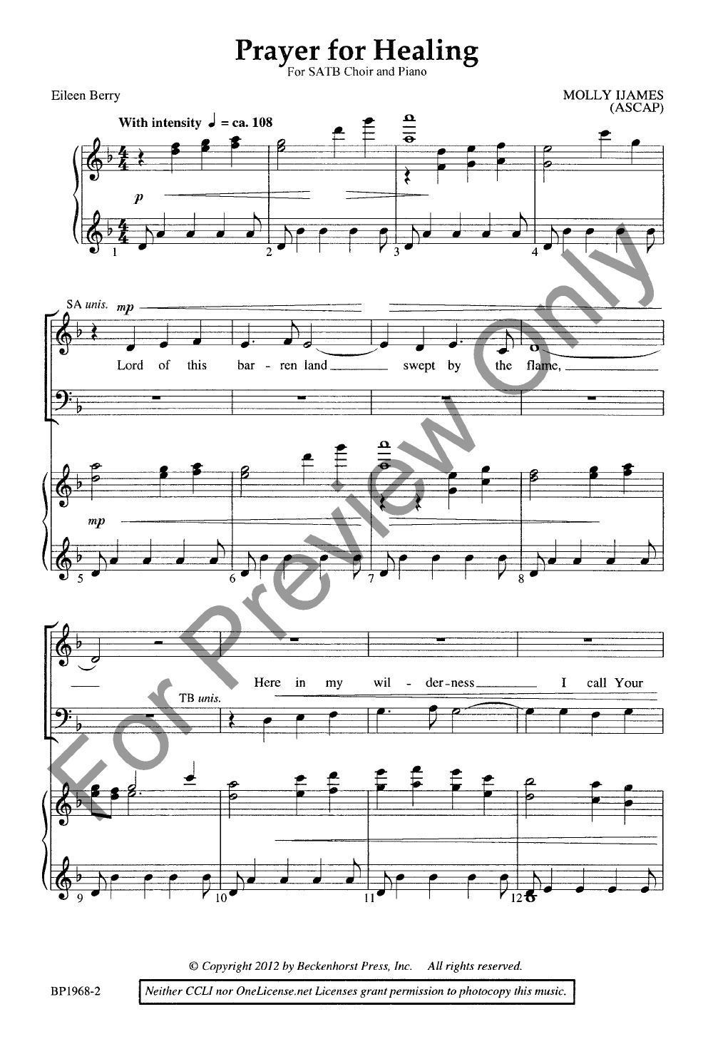 Prayer for Healing (SATB ) by Molly Ijames| J W  Pepper Sheet