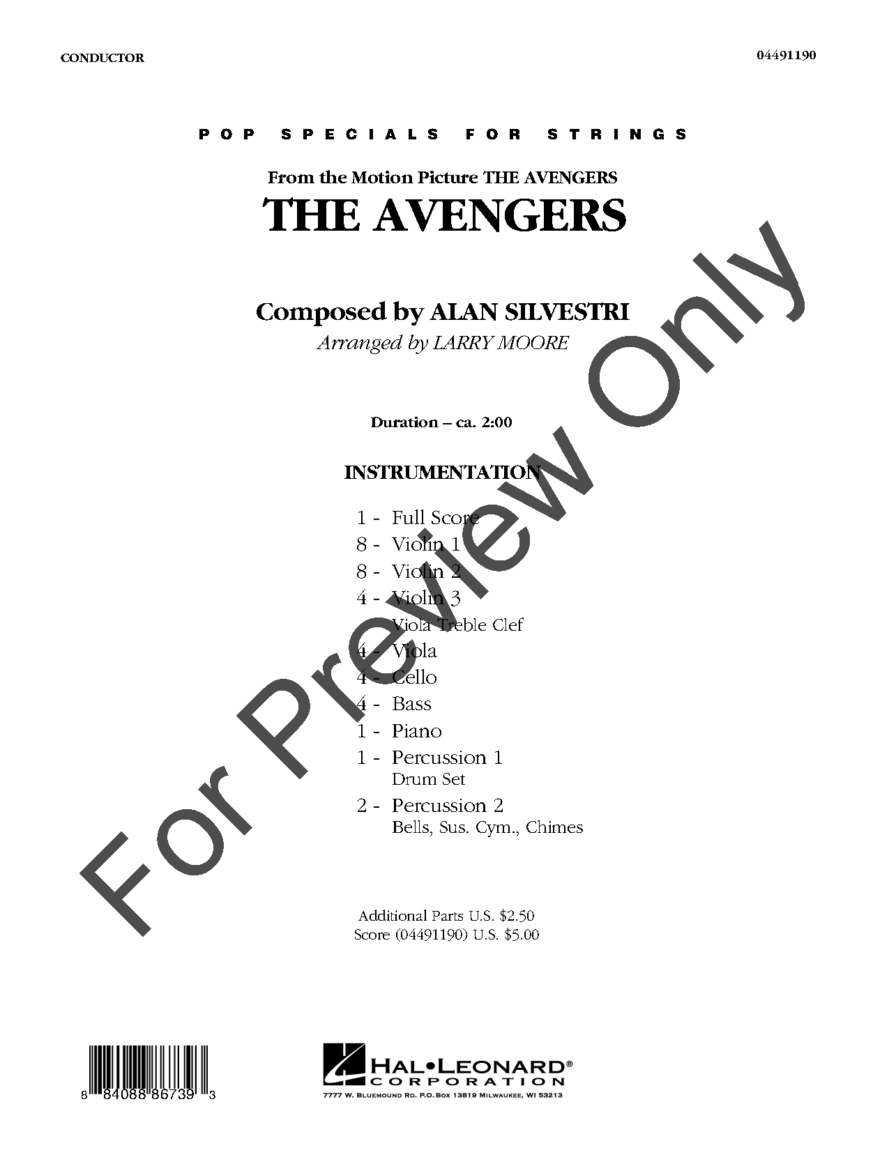 The Avengers by Alan Silvestri/arr  Larry Moore| J W  Pepper